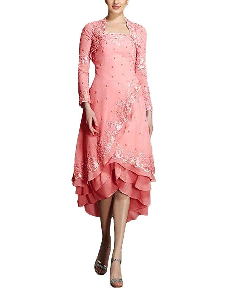 Coral JINGDRESS Tea Length Beaded Mother of The Bride Dresses with Long Sleeve Jacket Two Piece for Women