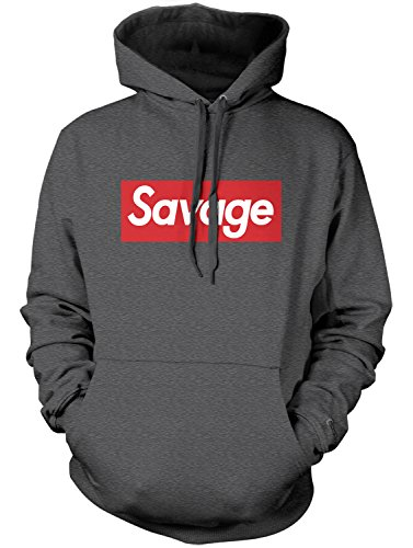 Manateez Men's Savage Skateboarding Hoodie Small Dark Heather Gray