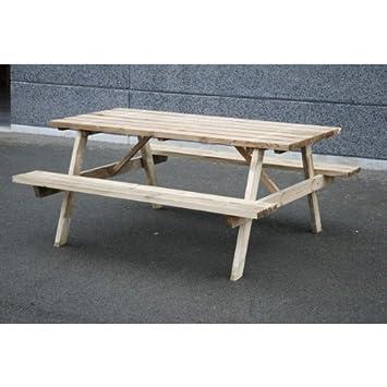 Grande table de jardin Picnic - Pin traité autoclave: Amazon.fr ...