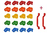 20 Kids Rock Climbing Holds with Safety Handles and Extended 2 Inch Mounting Hardware for Childrens Playground Rock Wall Accessory- Installation Guide Included