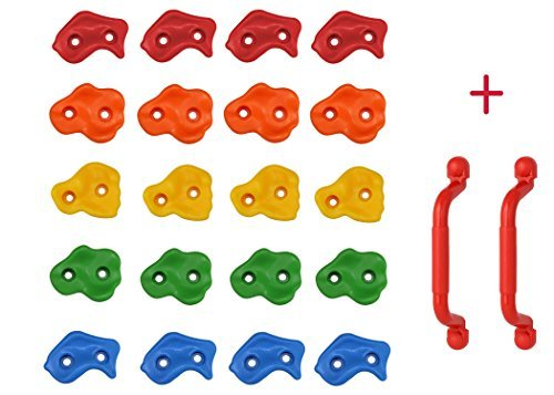 Best Buy! 20 Kids Rock Climbing Holds with Safety Handles and Extended 2 Inch Mounting Hardware for ...