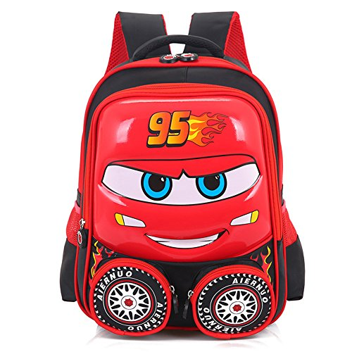 YOURNELO Boy's Cool Cartoon Car Shape Monocoque Shell School Backpack Rucksack (Red)