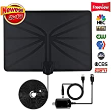 Updated 2018 VERSION HD Digital TV Antenna-Best 80 Miles Long Range High-Definition with HDTV Amplifier Signal Booster for Indoor for All Types of Home Smart Television - Never Pay Fees