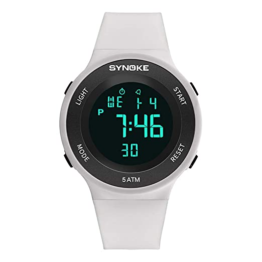 Relojes Pulsera Multifunción Calendario Mes Semana Alarma Digitale Relojes Hombre Correa de Silicona Deportivo Moderno, Blanco: Amazon.es: Relojes