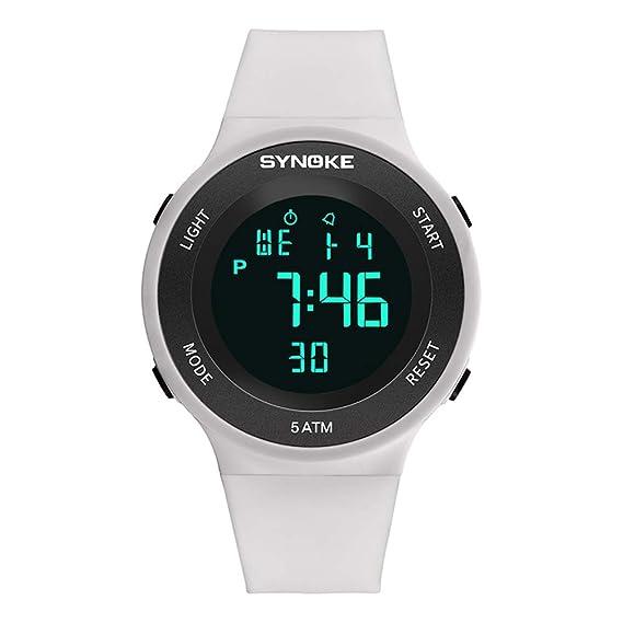 6fd845cba Relojes Pulsera Multifunción Calendario Mes Semana Alarma Digitale Relojes  Hombre Correa de Silicona Deportivo Moderno, Blanco: Amazon.es: Relojes
