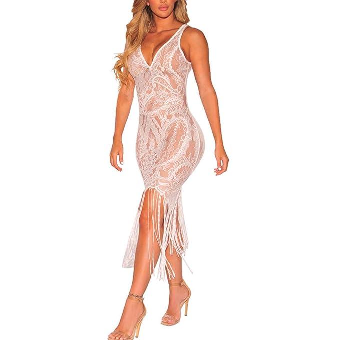 ea4a71229616 Mosstars Vestido Largo Fiesta Mujer Encaje Vestido Escotado en V ...
