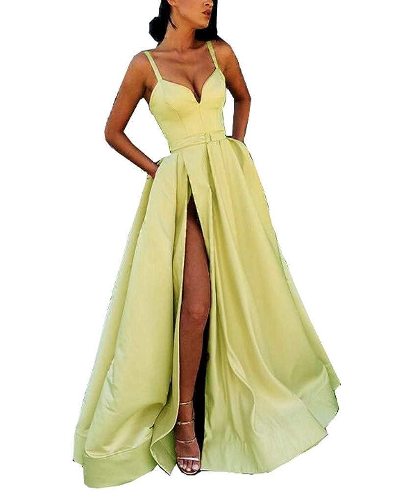 Light Green Honeydress Women's Long Evening Dress Sweetheart High Split Champagne Formal Gown with Pocket
