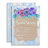 Rustic Watercolor Floral Bridal Shower Invitations with Blue Wood Background, Ten 5''x7'' Fill In Cards with 10 White Envelopes by AmandaCreation