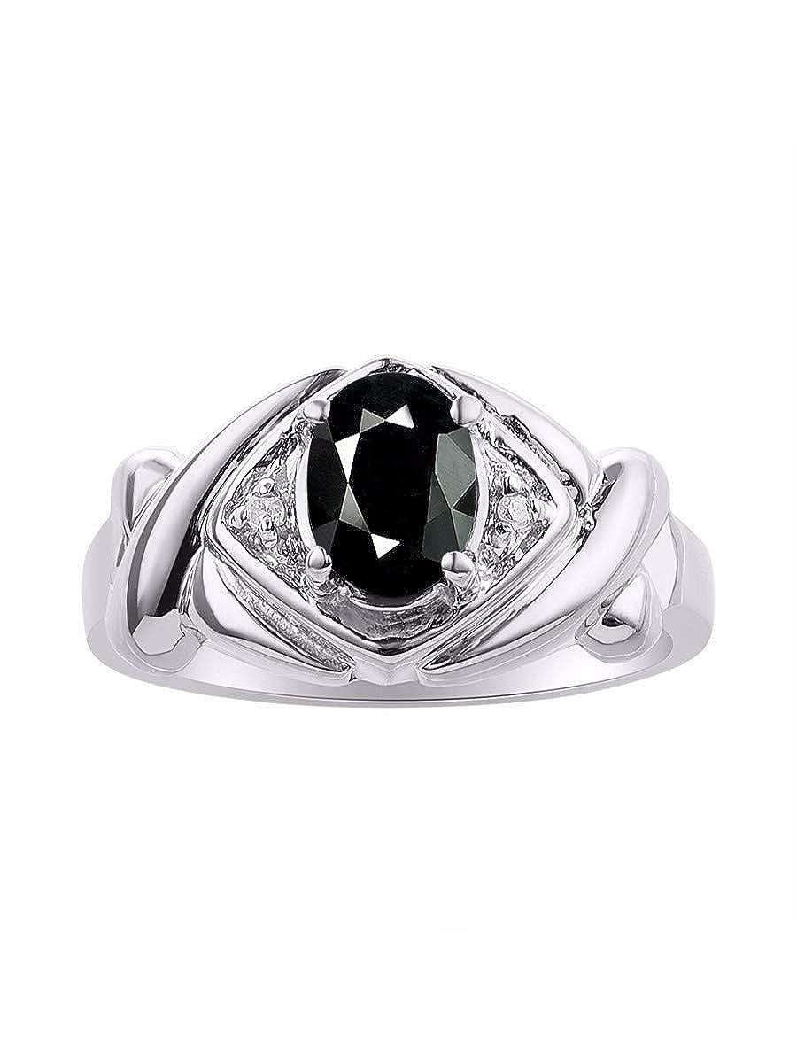 RYLOS Simply Elegant Beautiful Onyx /& Diamond Ring October Birthstone