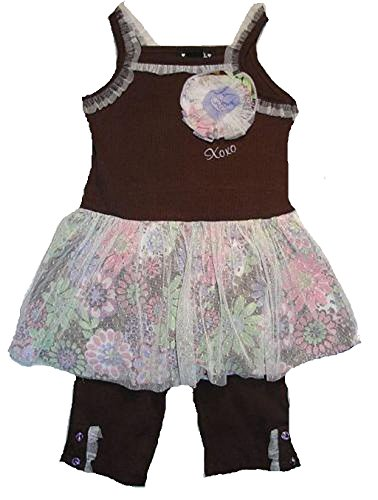 XOXO Girl's 12 Months Brown Floral Tunic, Ribbed Leggings Set