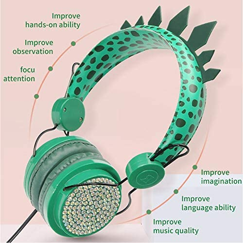 Kids Headphones,Boys Built-in Microphone Teens Stereo Foldable Portable Dinosaur 3.5mm Jack Wired Cord On-Ear Headset for Children/Teens/Boys/Girls/Smartphones/Kindle/Plane/Tablet