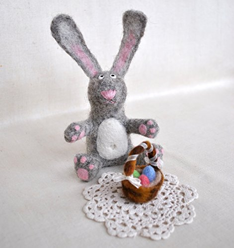 Basket Sculpture (Easter Bunny figurine and basket with eggs Needle felted miniature, wool soft sculpture, OOAK table centerpiece decor)