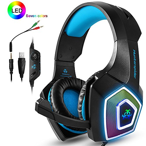 PS4 Headset,Xbox One Headphones,Gaming Headset with LED light,Stereo Gamer Headphones,3.5mm wired Over-ear Noise Isolating Microphone Volume Control for MacBlack-Blue)