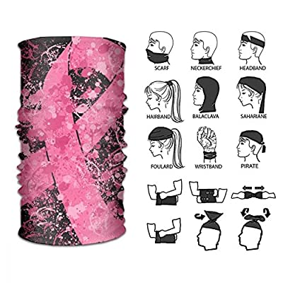 Breast Cancer Pink Ribbon Multifunctional Seamless Bandanas Face Mask Headband Scarf Headwrap Neckwarmer