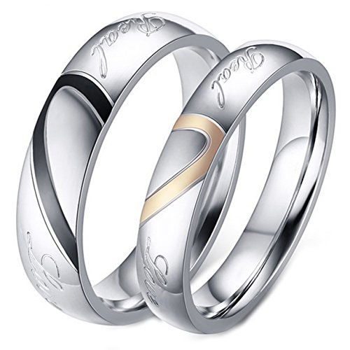 Pair Promise Rings - LineAve His or Her Couple Real Love Matching Heart Ring Mens Wedding Band Size 10, 1z5023s10