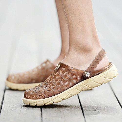 Xing Lin Sandalias De Hombre Los Hombres Del Agujero De Verano Zapatos Zapatillas Zapatillas De Playa Mujeres Transpirable Tendencia Mitad Zapatillas Par Sandalias De Gran Tamaño brown