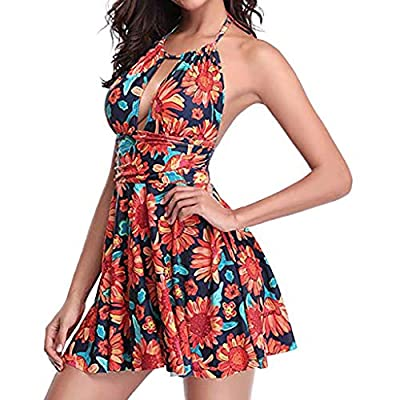 ANJUNIE Women's Sexy One Piece Bikini Swimsuit Print Swim Dress Skirted Bathing Suit