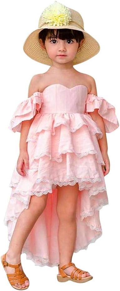Toddler Kids Little Girls Sleeveless Lace Wedding Birthday Party Princess Ruffle Dress Outfits