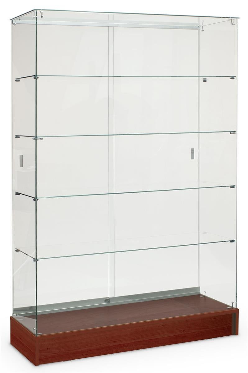 FRAMELESS ALL GLASS DISPLAY CASE, 48'' LONG BY 72'' TALL, WITH CHERRY BASE, GREAT FOR RETAIL STORES AND COLLECTIBLES