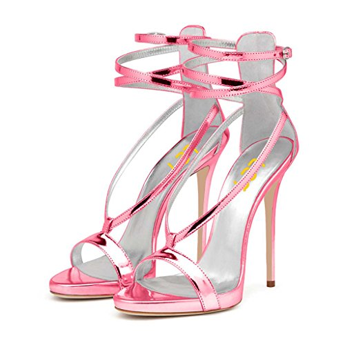 FSJ Women Sexy Strappy Sandals for Wedding Open Toe Metallic High Heels Pumps Shoes Size 8.5 ()
