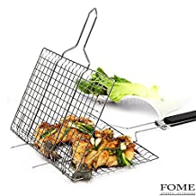 Grilling Basket,FOME Portable Stainless Steel BBQ Grilling Basket with Wooden Handle for Fish,Steak,Shrimp,Vegetables Professional-Grade Grilling Basket for 2-3 people 21.06x9x1.37in