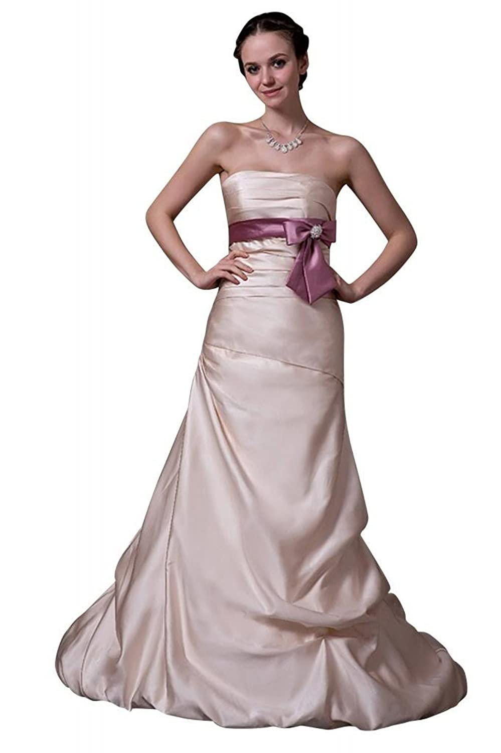 GEORGE BRIDE Elegant Fashion Strapless Long New Evening Dress with Bow