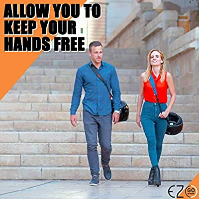 Motorcycle Helmet Carrier Strap - Hands-Free, Motorbike Accessory. Convenient, Lightweight and Comfortable Alternative to Helmet Bag or Backpack. A Perfect Biker Gift For Men and Women. Black By EZ-GO: Automotive