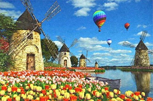 ししゅう糸 DMC糸 クロスステッチ刺繍キット 布地に図柄印刷 チューリップ風車園 B077G8KWGL