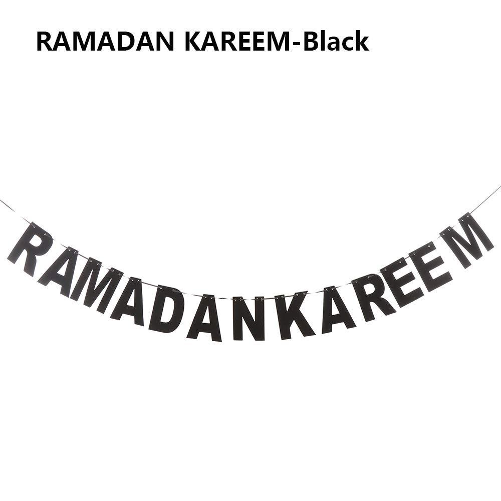 foviupet Musulman D/écoration Papier Guirlande Photo Suspendus Drapeau Eid Mubarak Bunting Banni/ère
