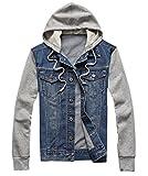 Easy Mens Casual Vintage Splice sleeves Hoodie Denim Blouse Jacket Coat blue