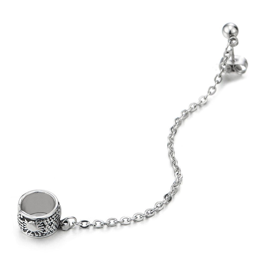 1pc Vintage Steel Ear Cuff Ear Clip Stud Earrings for Men Women with Chain COOLSTEELANDBEYOND ME-1399-EU