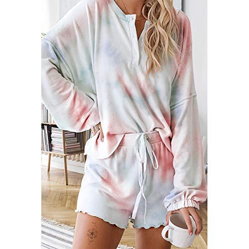 Exlura Womens Short Pajama Set Loose Top and Shorts Sleepwear Nightwear Loungewear PJ Set