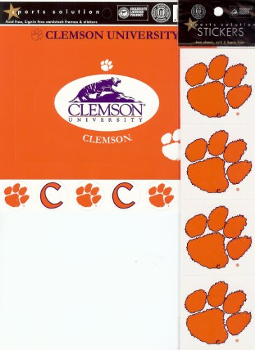 (Sports Solution Clemson University Tigers 18 Piece Custom Package of Officially Licensed Collegiate College Stickers, Cardstock Frames & Die Cuts )