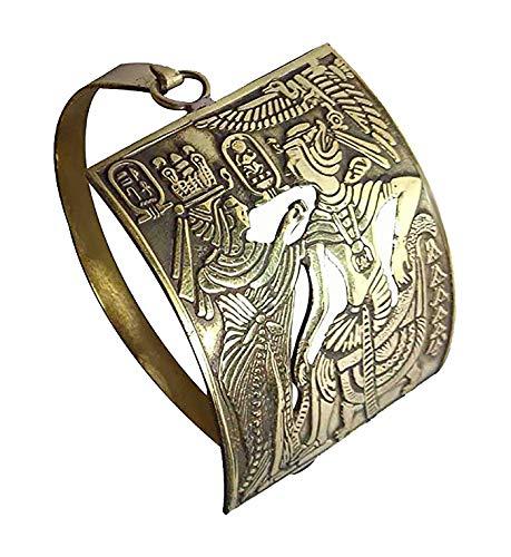 Egyptian Pharaoh Brass Bracelet Cuff Nefertit Cleopatra Ankh Key Tut Isis Horus eye Life Scarab beetle Luck Hieroglyphics Cartouche Pharaoh's Costume Jewelry Accessory Hieroglyphic 108 (Model 5)]()