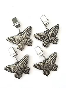 Set of 4 Butterfly Dragonfly Design Metal Garden Tablecloth Clip Weight Weights (Butterfly)