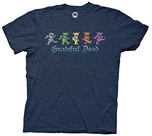Ripple Junction Grateful Dead Dancing Bears Gothic Text Adult T-Shirt (Heather Navy, XXL)