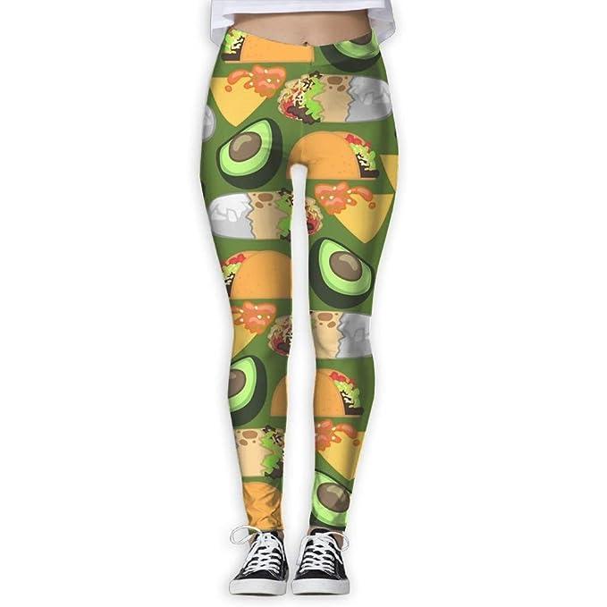 CVDGSAD Womens Taco With Avocado Printed Yoga Pants Quick ...