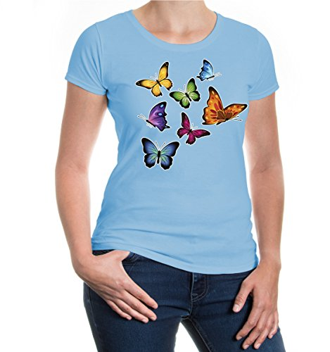 Girlie T-Shirt Lepidoptera-coloured Skyblue