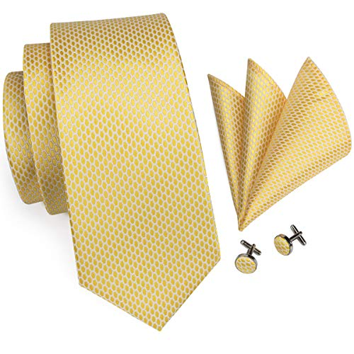 Hi-Tie Men Classic Gold Grid Solid Tie Necktie with Cufflinks and Pocket Square Tie Set