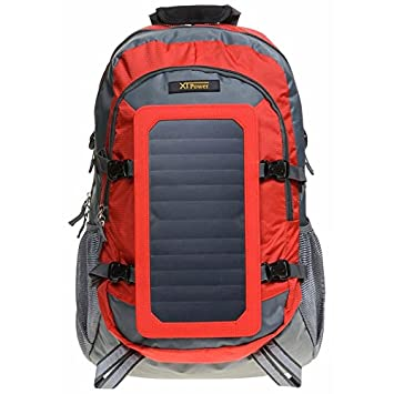 XTPower Hiking Solar Backpack with Removable 7 Wall Solar Panel for Smart Phones, Tablets, GPS, Bluetooth and GoPro Devices in Red and Grey