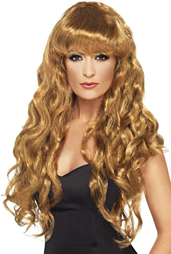 Smiffys Women's Siren Wig Long Curly with Fringe, Brown, One Size (Brown Siren Wig)
