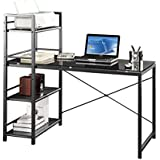 Techni Mobili Modern Colored Tempered Glass Top Computer Workstation with Shelves, Grey