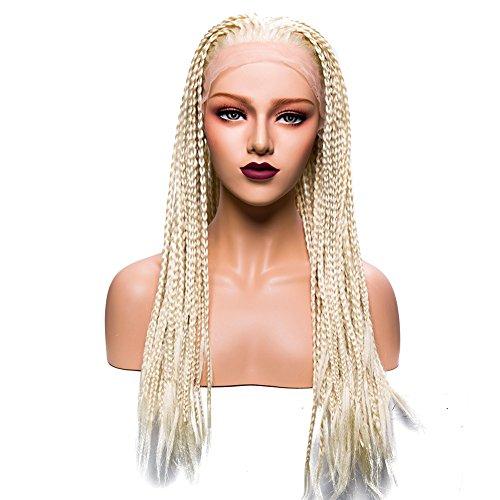 Long Braids Synthetic Lace Front Wigs #613 Blonde Color Twist Braid Crochet Synthetic Wigs For Beauty Women