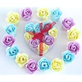 Rose Bath Bomb, Nine Colorful Charming Rose Flowers in a heart gift box. 3blue+3purple+3Yellow, 9go