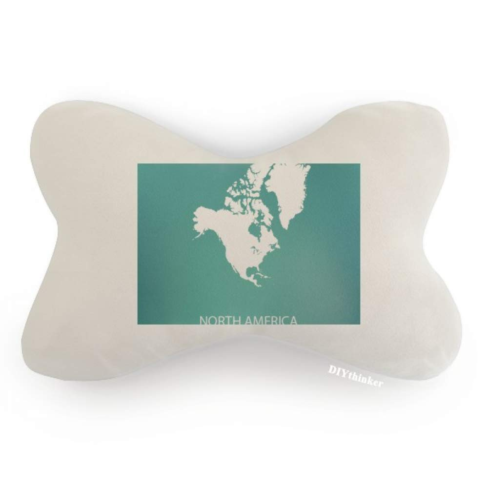 DIYthinker North America Continent Silhouette Map Car Neck Pillow Headrest Support Cushion Pad