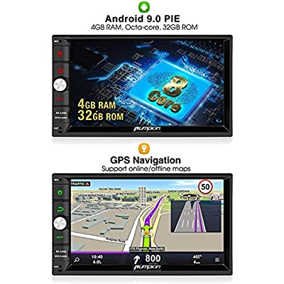 PUMPKIN Android 9.0 Car Stereo Double Din with 4GB, GPS and WiFi, Android Auto, Support Fastboot, Backup Camera, USB SD, 7 Inch Touch Screen: GPS & Navigation