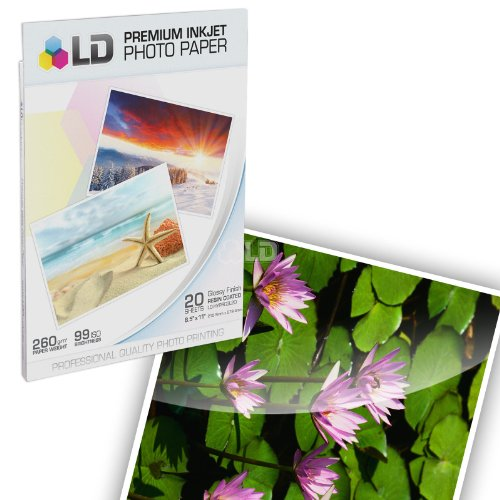 LD Premium Glossy Photo Paper Resin Coated - 8.5 in x 11 in (White, 20-Pack)