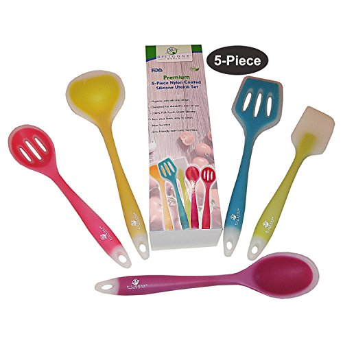 premium-5-piece-nylon-coated-silicone-utensil-set-by-silicone-world-durable-and-multi-color-kitchen-