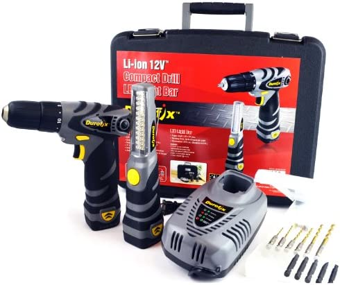 Durofix RD1286-KL 12V Cordless Combo Drill Light Kit 2 Tools Accessories