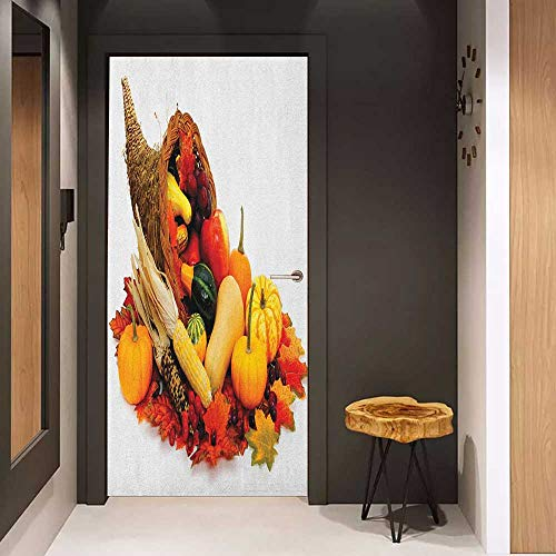 (Wood Door Sticker Harvest Thanksgiving Photograph with Butternut Squash Pumpkin Corn Cornucopia Easy-to-Clean, Durable W23 x H70 Vermilion Orange Brown)